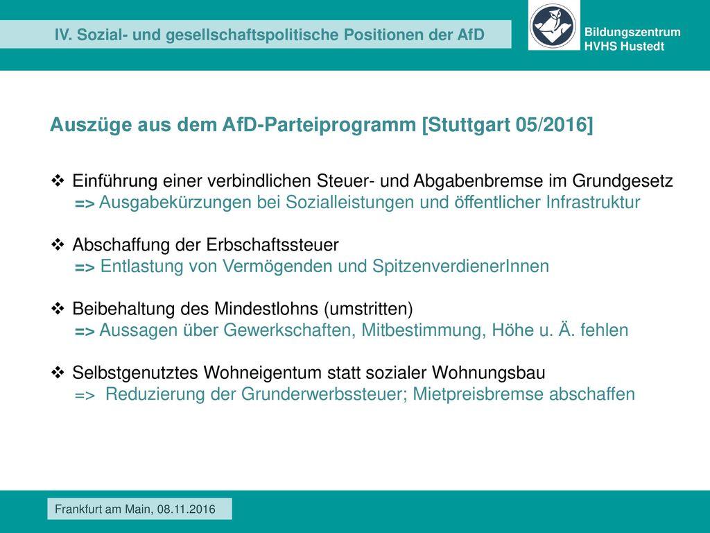 Auszüge aus dem AfD-Parteiprogramm [Stuttgart 05/2016]